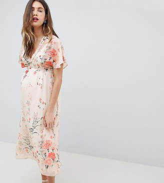 Queen Bee Fluted Sleeve Midi Dress In Floral Print