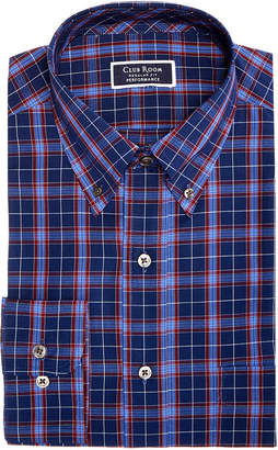 Club Room Men's Classic/Regular Fit Stretch Wrinkle-Resistant Basic Plaid Dress Shirt, Created for Macy's
