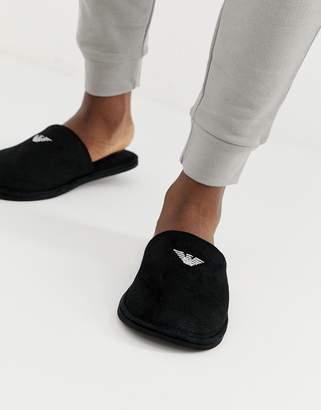 4f065365ffde Emporio Armani logo slippers in black