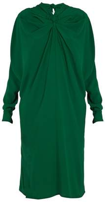 Marni Ruched-front high-neck crepe midi dress