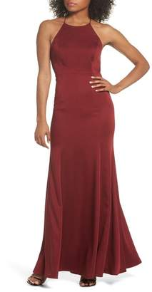 Jenny Yoo Collection Naomi Luxe Crepe Halter Gown