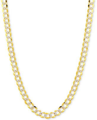 "Macy's 18"" Two-Tone Open Curb Link Chain Necklace (3-1/6mm) in Solid 14k Gold & White Gold"