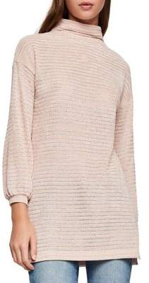 BCBGeneration Textured Funnelneck Velour Tunic