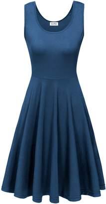 KorMei Womens Seeveess Midi Dress Summer Beach Casua Fared Tank Dressarge Bue