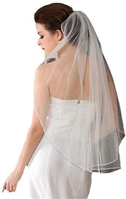 JING.DRESS JINGDRESS Short Bridal Veils with Comb 1T Rhinestone Elbow Wedding Veil