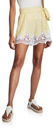 Miguelina Liana High-Waist Cotton Shorts w/ Lace