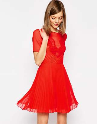 ASOS Lace and Pleat Skater Mini Dress $48 thestylecure.com