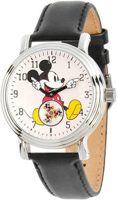 Disney Womens Black And Silver Tone Vintage Mickey Mouse Strap Watch W002751
