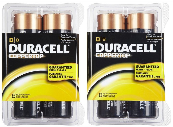 Duracell Coppertop D Batteries, 16pk