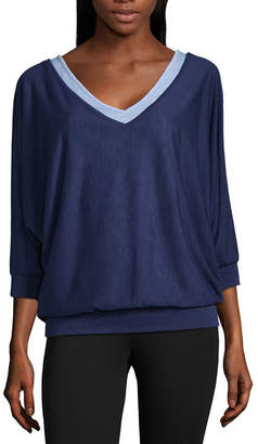 Liz Claiborne Long Sleeve V Neck Layered T-Shirt-Womens