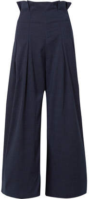 Paper London Solo Checked Pleated Voile Wide-leg Pants - Midnight blue