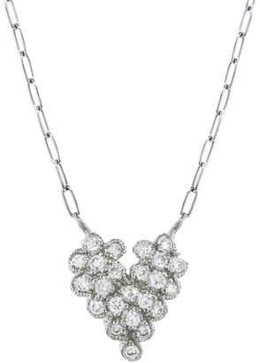 Cathy Waterman Scalloped Diamond Heart Necklace