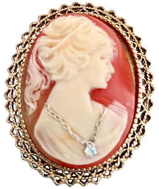 One Kings Lane Vintage 14K Gold - Coral Cameo & Diamond Brooch - Jacki Mallick Designs