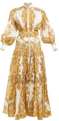 Zimmermann Zippy Balloon Sleeve Linen Blend Gown - Womens - Yellow Print