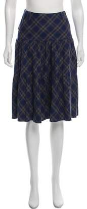 agnès b. Knee-Length Argyle Skirt