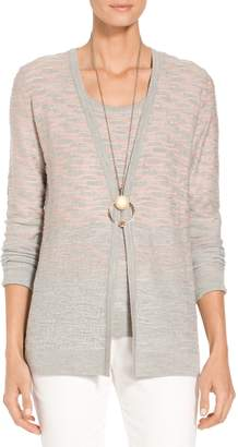 St. John Degrade Contour Knit V-Neck Cardigan