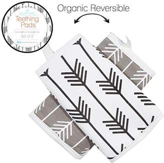Boys + Arrows Kaydee Baby Organic Cotton Reversible Teething, Drool & Dribble, Chew Pads w/ Organic Fleece Inner Lining for Baby Carriers for Girls and Boys (Arrows) - 2 Pack