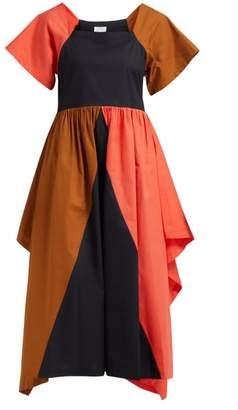 Isa Arfen Bellaria Panelled Cotton Poplin Midi Dress - Womens - Multi
