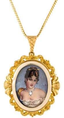 18K Portrait Brooch Pendant Necklace