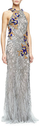 Monique Lhuillier Sleeveless Embroidered Column Gown, Gunmetal $8,995 thestylecure.com