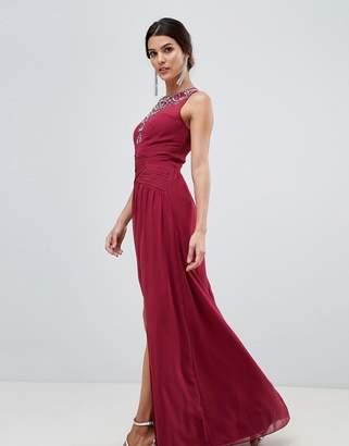 Little Mistress twist front split maxi dress