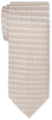 Moschino Tan Pindot & Logo Silk Tie