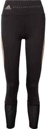 adidas by Stella McCartney Train Mesh-paneled Climacool Stretch Leggings - Black