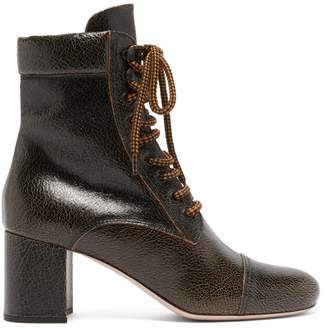 Miu Miu Crackle Effect Leather Boots - Womens - Dark Brown