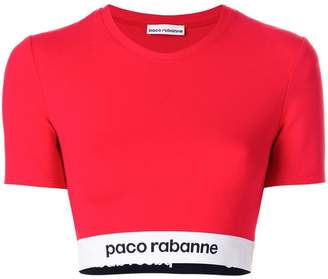 Paco Rabanne cropped elasticated hem T-shirt