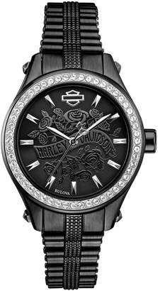 Harley-Davidson Analog Flower Power Collection Stainless Steel Bracelet Watch