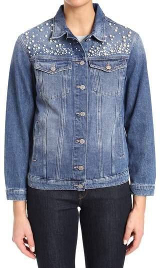 Imitation Pearl Embellished Denim Jacket