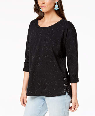 Style&Co. Style & Co Flecked Side Lace-Up Top, Created for Macy's