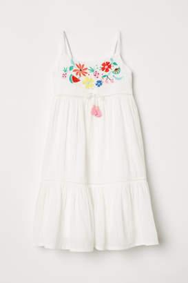 H&M Cotton Dress with Embroidery - White