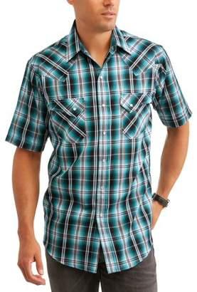 Plains Men's Short Sleeve Textured Plaids Shirt