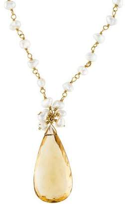 18K Citrine & Pearl Pendant Necklace