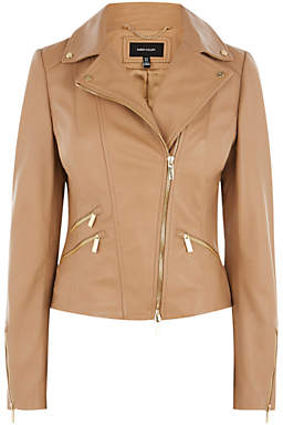 Karen Millen Leather Biker, Neutral