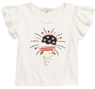 Truly Me Patriotic Ice Cream Flutter Sleeve Tee (Toddler Girls & Little Girls)