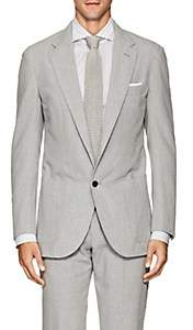 P. Johnson Men's Cotton Seersucker Two-Button Sportcoat - Gray