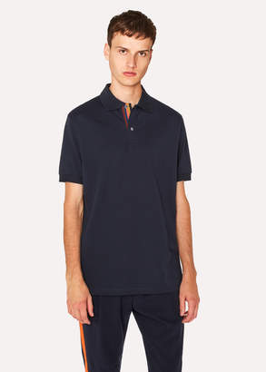 Paul Smith Men's Slim-Fit Navy Cotton-Pique Polo Shirt With 'Artist Stripe' Placket