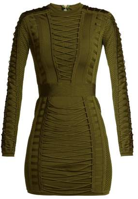 Balmain Lace Up Stretch Knit Mini Dress - Womens - Khaki