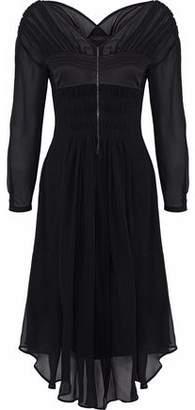 Belstaff Satin-Paneled Silk-Georgette Midi Dress