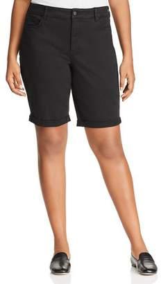 NYDJ Plus Briella Roll-Cuff Bermuda Shorts in Black