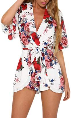 4ec7b2547f9 Fashion Womens Boho Style Beach Casual 3 4 Sleeves Jumpsuit Rompers  Playsuit Outfit