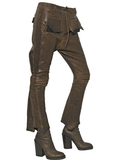 Haider Ackermann Nappa Leather And Suede Trousers