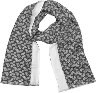 Forzieri Paisley Print Silk Reversible Men's Scarf