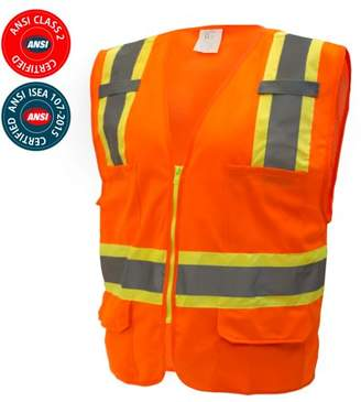 R&K RK Safety Two Tone High Visibility Safety Vest- ANSI Class 2 - Neon Orange / 2XL