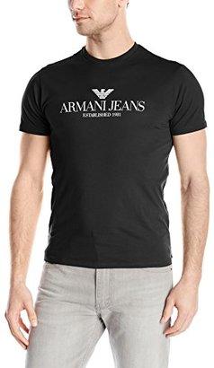 Armani Jeans Men's Regular Fit Logo Crew Neck T-Shirt $10 thestylecure.com