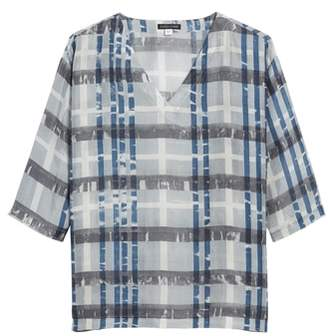 Eileen Fisher Plaid Boxy Silk Top