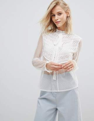 Paige Willow and Willow And Blouse With Tie Neck And Ruffle Trim In Sheer