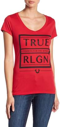 True Religion Rhinestone Embellished V-Neck Tee
